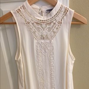 Cream lace Nordstrom sleeveless blouse